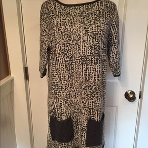 W WORTH ⭐️DRESS MINI SHIFT GRAY WHITE PRINT LARGE